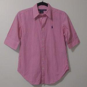 Ralph Lauren sport pink/white gingham button down